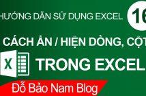 Cách ẩn cột trong Excel, ẩn/bỏ ẩn cột và dòng trong Excel