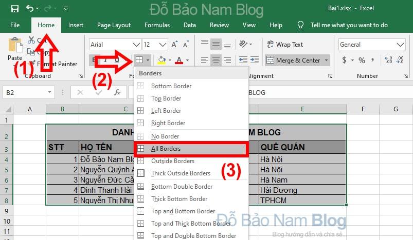 Thao tác tạo bảng trong Excel
