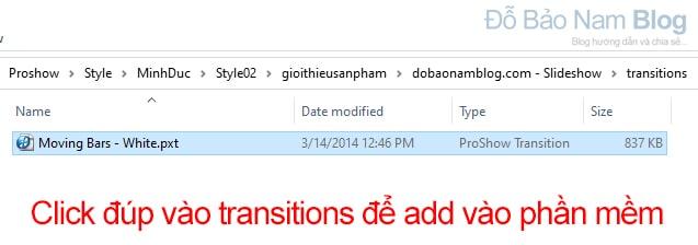 Add trantions vào phần mềm Proshow Producer