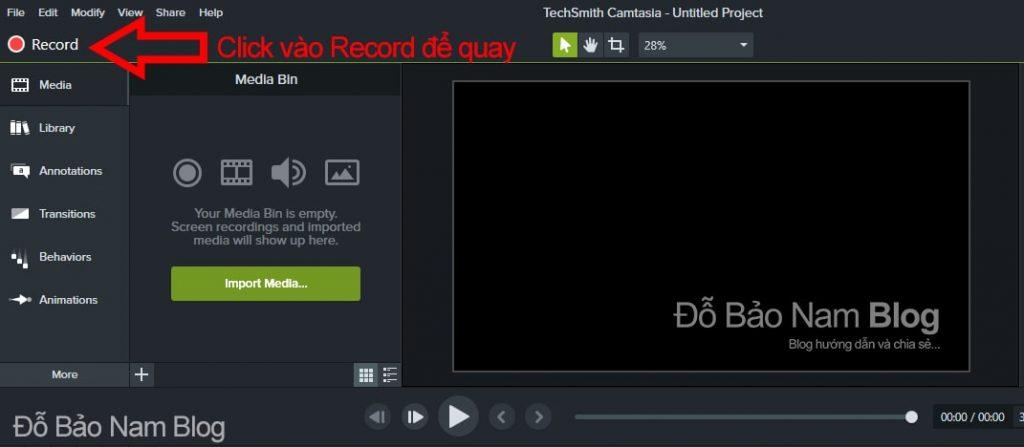 Click vào Record để bắt đầu quay lại màn hình máy tính