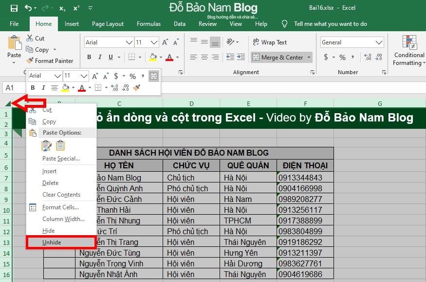Cách bỏ ẩn cột trong Excel, bỏ ẩn dòng trong Excel