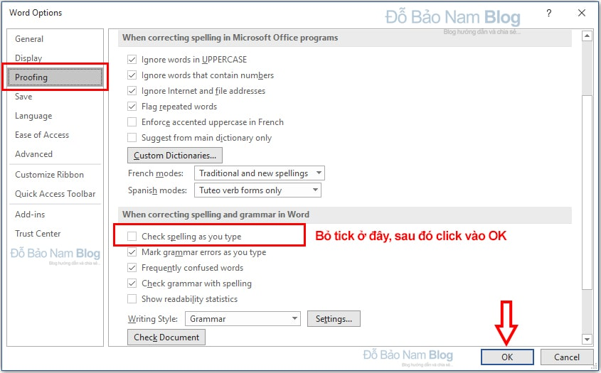 Instructions on how to remove red bricks in Word 2010, 2013, 2016, 2019 ...