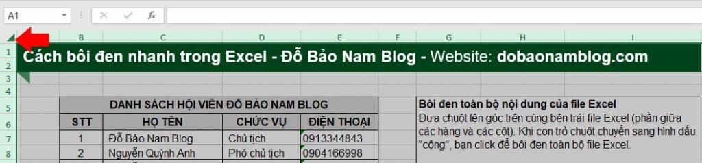 Cách bôi đen nhanh toàn bộ nội dung của file Excel