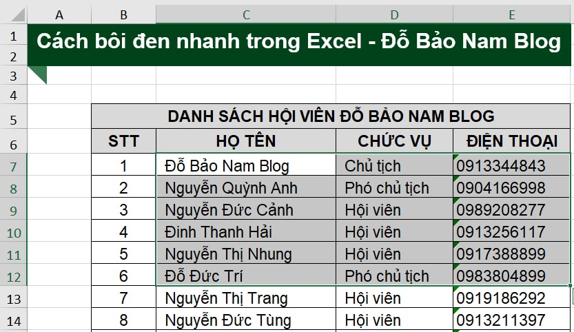 Cách bôi đen nhanh trong Excel cho một vùng dữ liệu bất kỳ