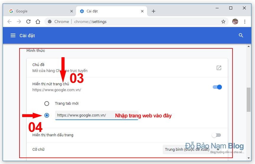Hướng dẫn cách đặt Google làm trang chủ trên Chrome B02