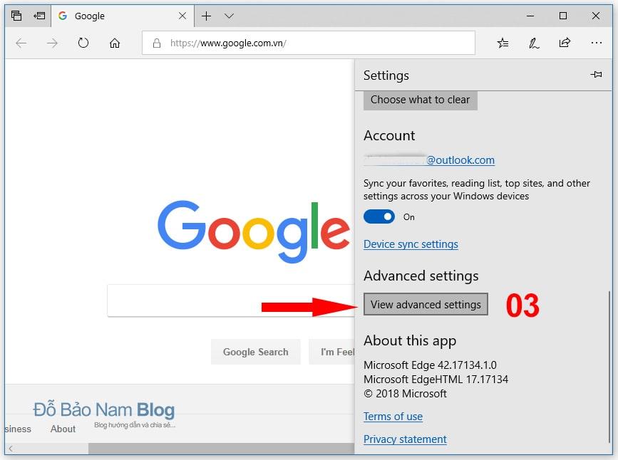 Hướng dẫn cách đặt Google làm trang chủ trên Microsoft Edge B2