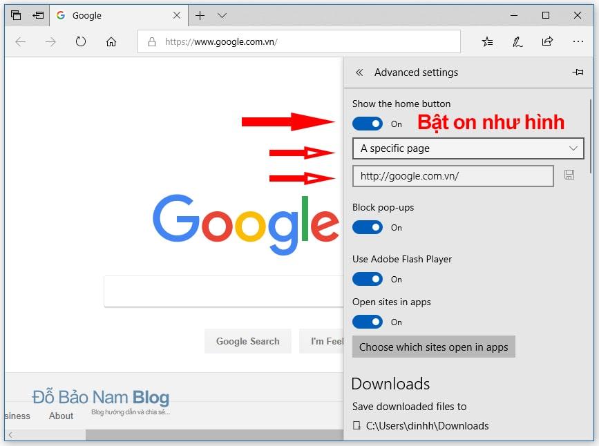 Hướng dẫn cách đặt Google làm trang chủ trên Microsoft Edge B3