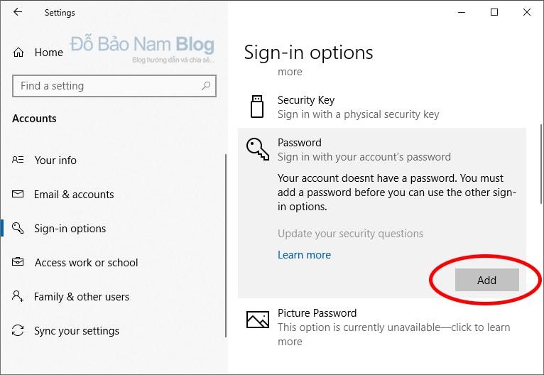 Các bước cài đặt mật khẩu cho máy tính Win 10 - Bắt đầu thiết lập