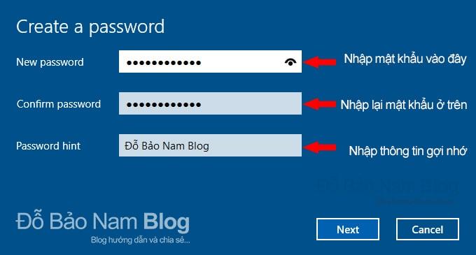 Các bước cài đặt mật khẩu cho máy tính Win 10 - Nhập mật khẩu