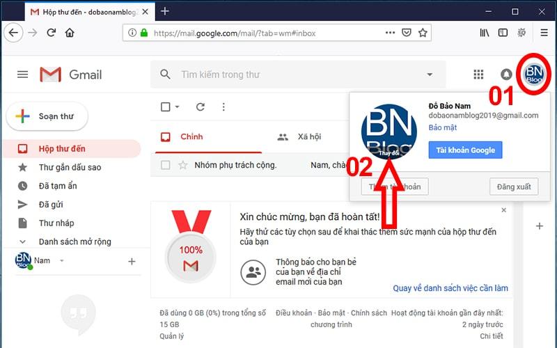 Thay đổi ảnh đại diện Gmail trong tài khoản Google