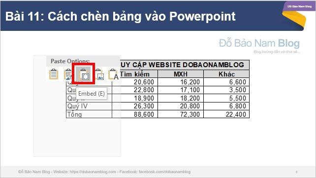 Cách chèn bảng Excel vào Powerpoint - Giữ nguyên định dạng và công thức