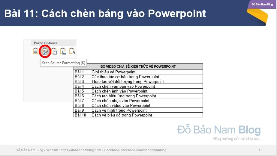 Cách chèn bảng Word vào Powerpoint
