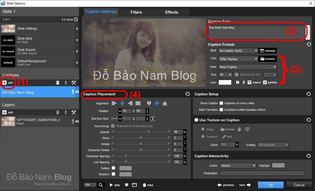 Các bước chèn chữ vào video trong Proshow Producer