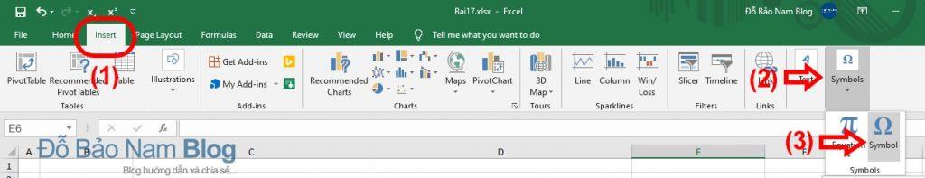 Cách chèn ký tự đặc biệt trong Excel có sẵn