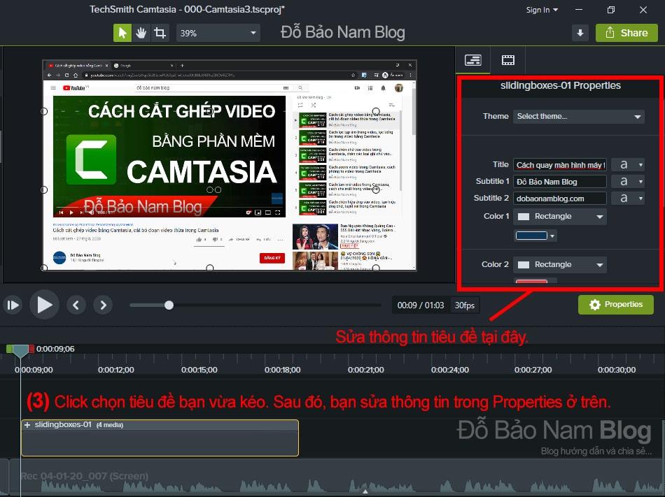 Chỉnh sửa thông tin tiêu đề trong video Camtasia