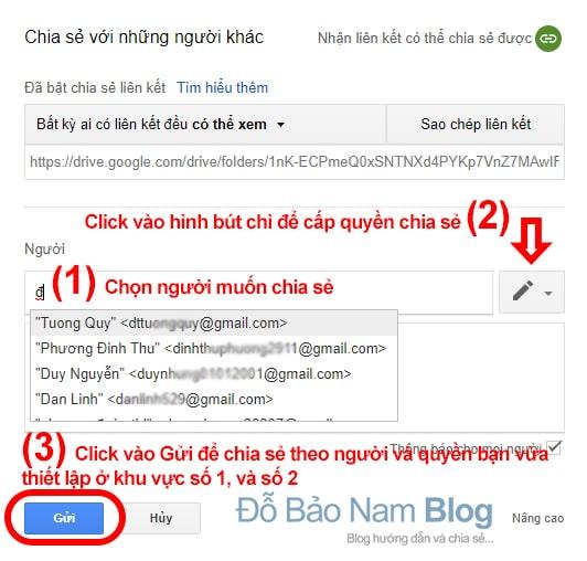 Cách chia sẻ thư mục trên Google Drive - Thiết lập quyền