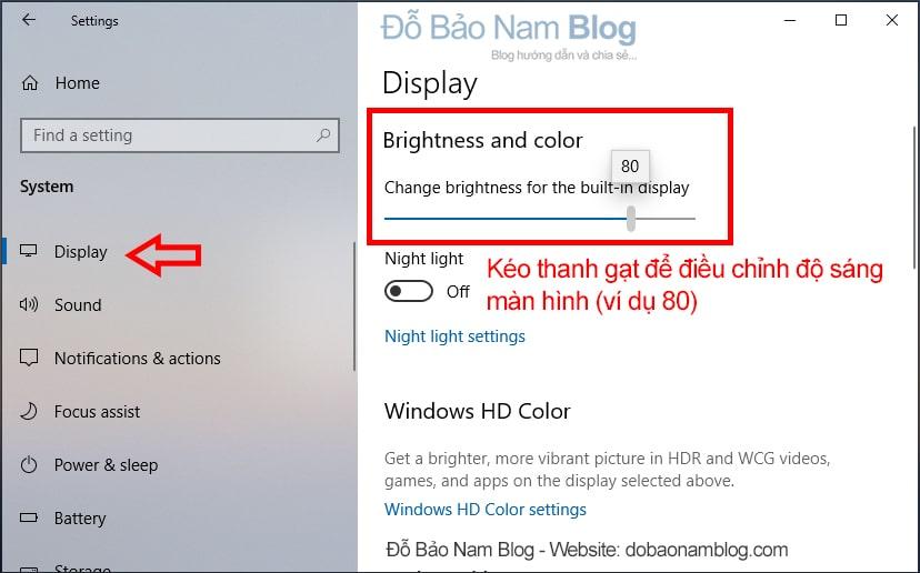 Tăng hoặc giảm độ sáng màn hình tại Change brightness for the built-in display