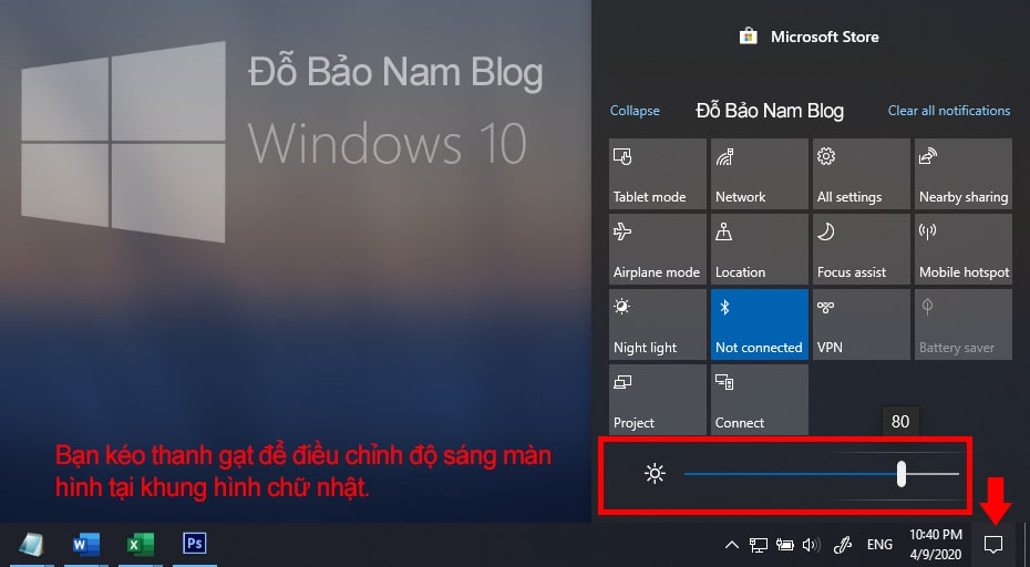 How to adjust the computer screen brightness via Action Center
