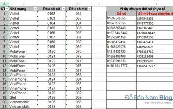 Cách đổi đầu số điện thoại trong Excel từ đầu 11 sang 10 số
