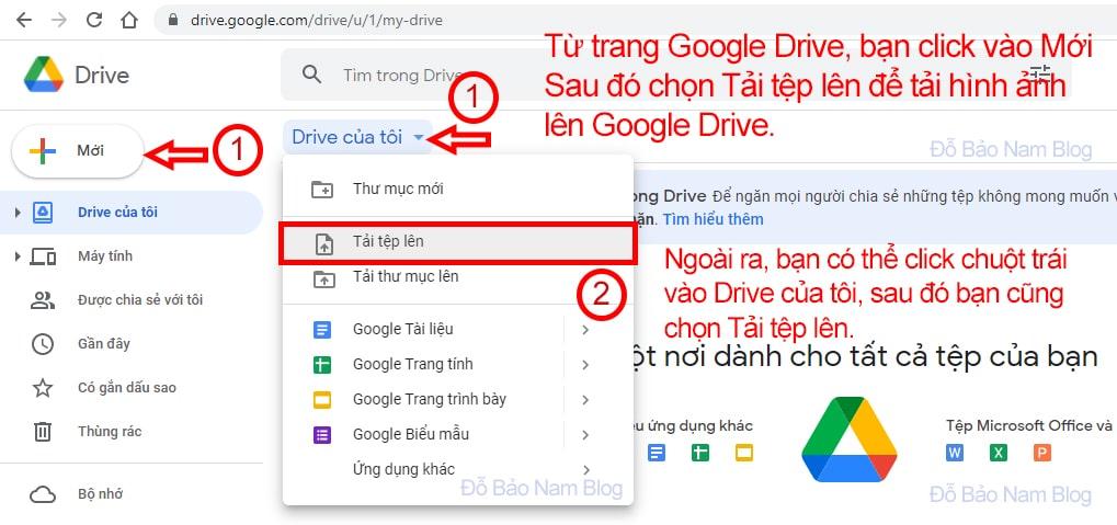 Tải flie hình ảnh có chứa văn bản lên Google Drive
