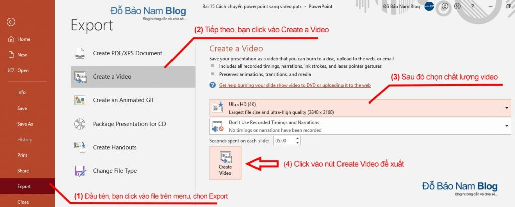 How to export Powerpoint files to high quality mp4 videos