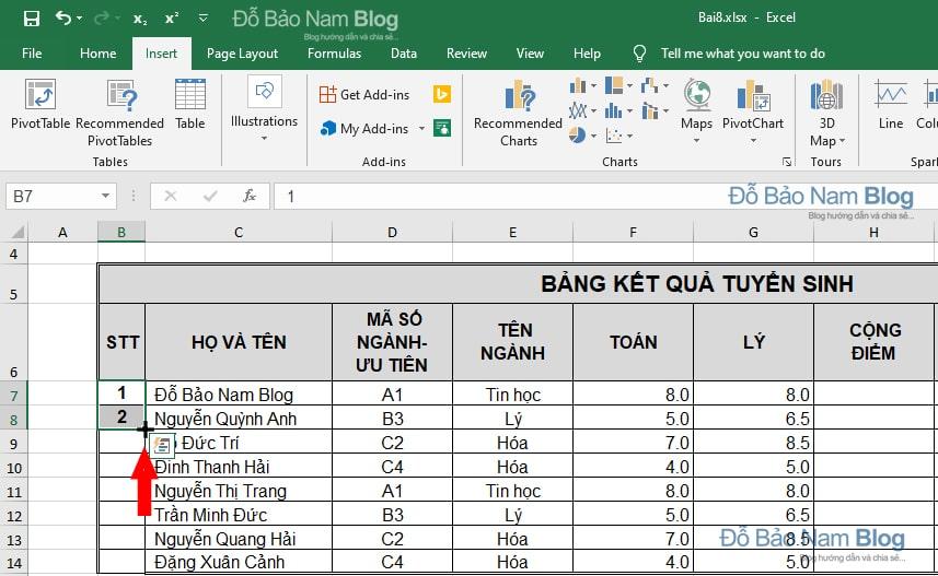 Cách đánh số thứ tự trong Excel tự động tăng dần đều - Cách 2