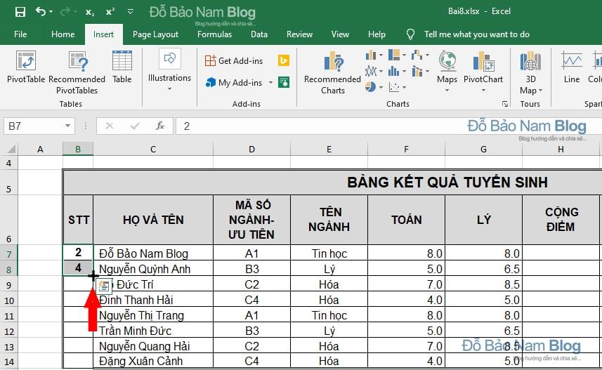 Cách đánh số thứ tự chẵn lẻ trong Excel - Số chẵn