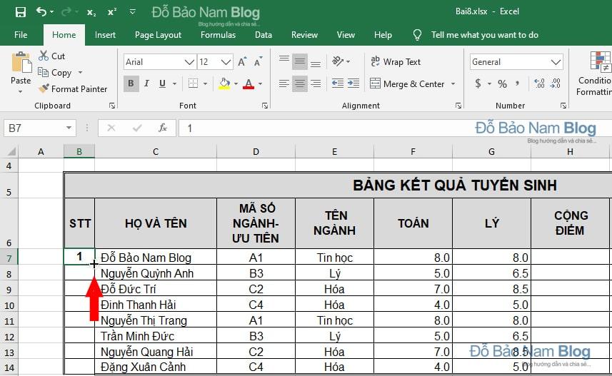 Cách đánh số thứ tự trong Excel tự động tăng dần đều