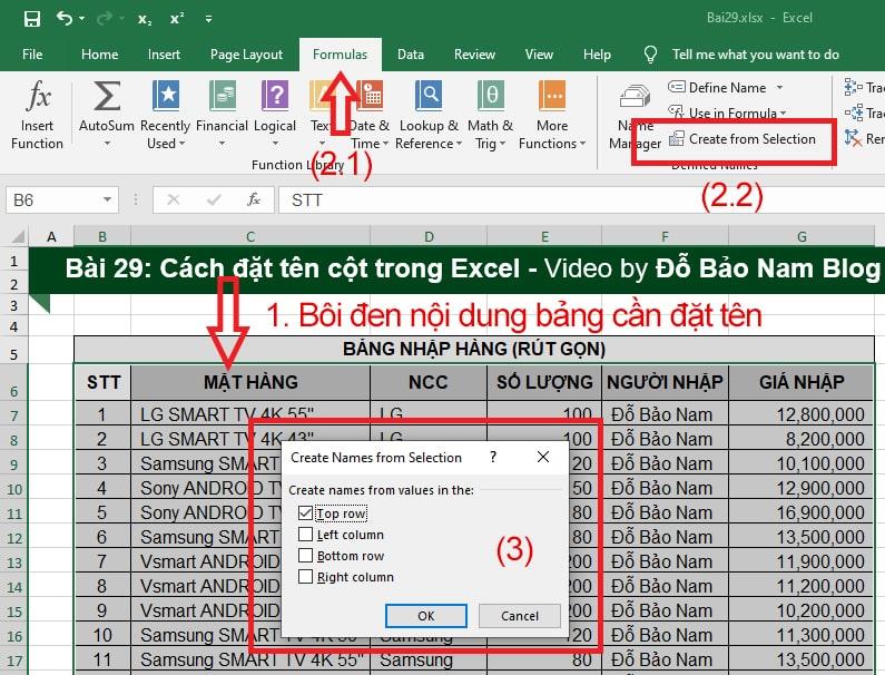 Cách đặt tên cột trong Excel