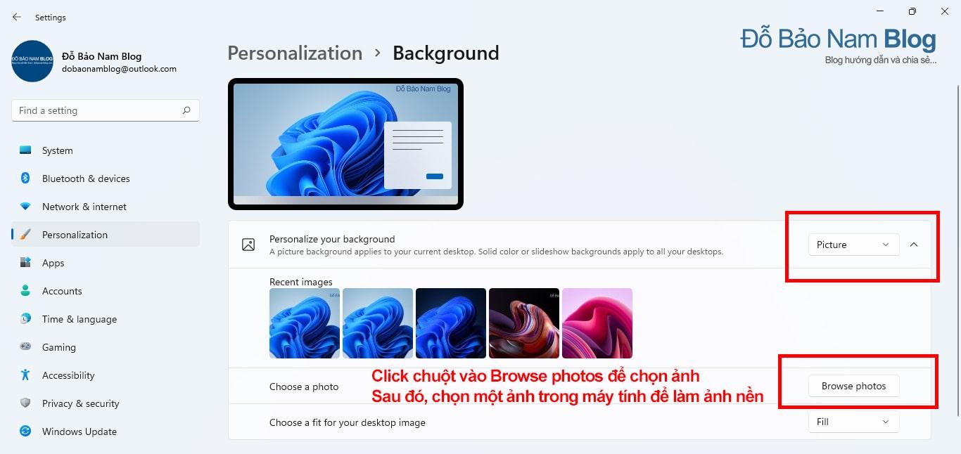Click chuột vào Browse photos để chọn ảnh