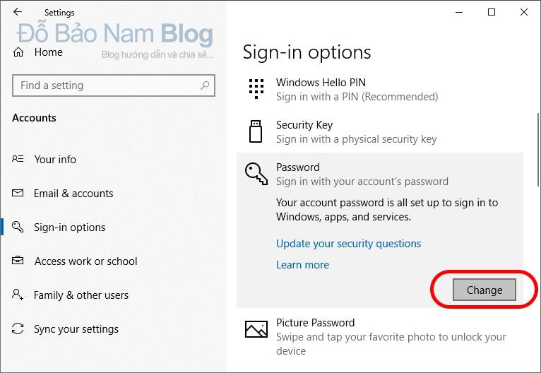 Các bước đổi mật khẩu máy tính Win 10 chi tiết - Click vào change