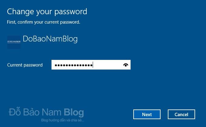 Các bước đổi mật khẩu máy tính Win 10 chi tiết - Nhập mật khẩu hiện tại