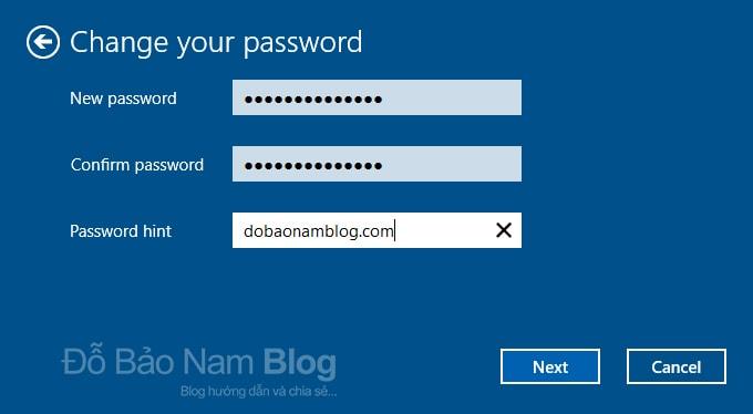 Các bước đổi mật khẩu máy tính Win 10 chi tiết - Nhập mật khẩu mới