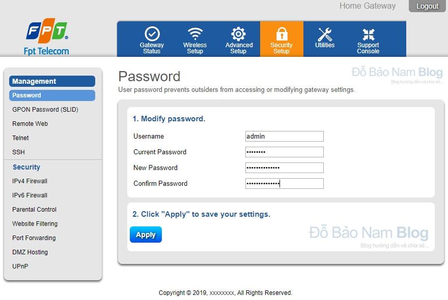 Cách đổi mật khẩu modem wifi FPT Gpon Home Gateway