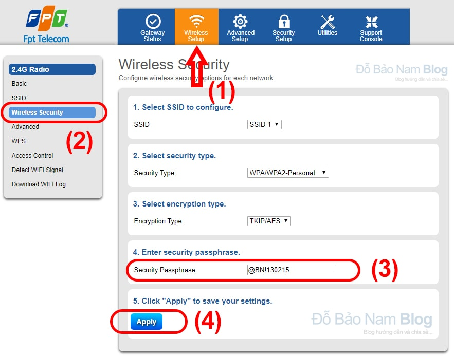 Thứ tự các bước đổi mật khẩu wifi nhà mạng FPT