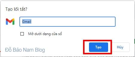 Sau đó đặt tên cho ứng dụng Gmail hoặc website khác