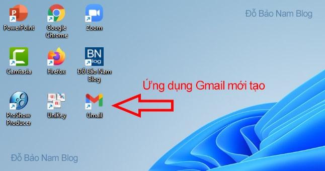 Và đây là kết quả sau khi đưa Gmail ra desktop.