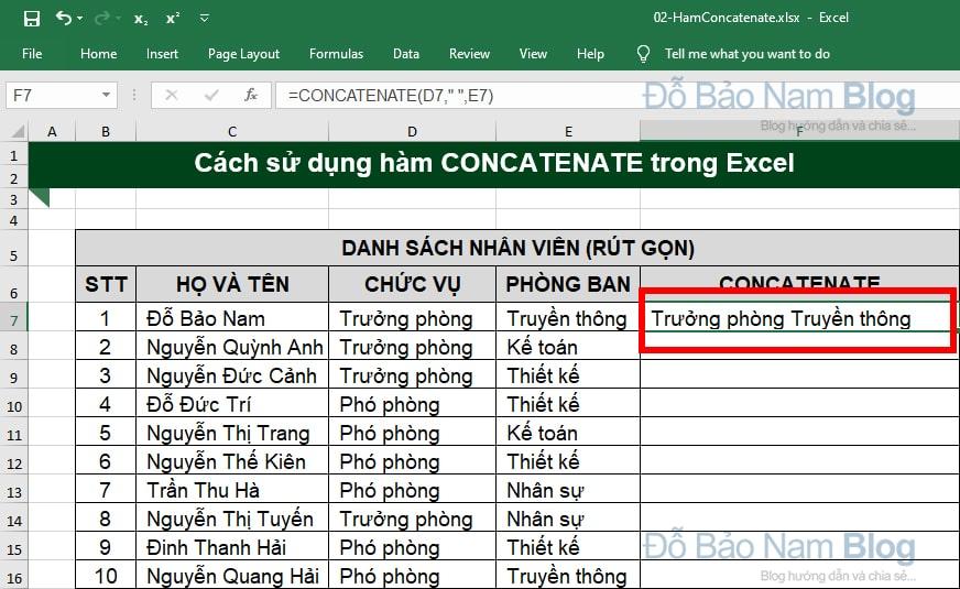 Cách dùng hàm CONCATENATE trong Excel qua ví dụ minh họa - Ảnh 2