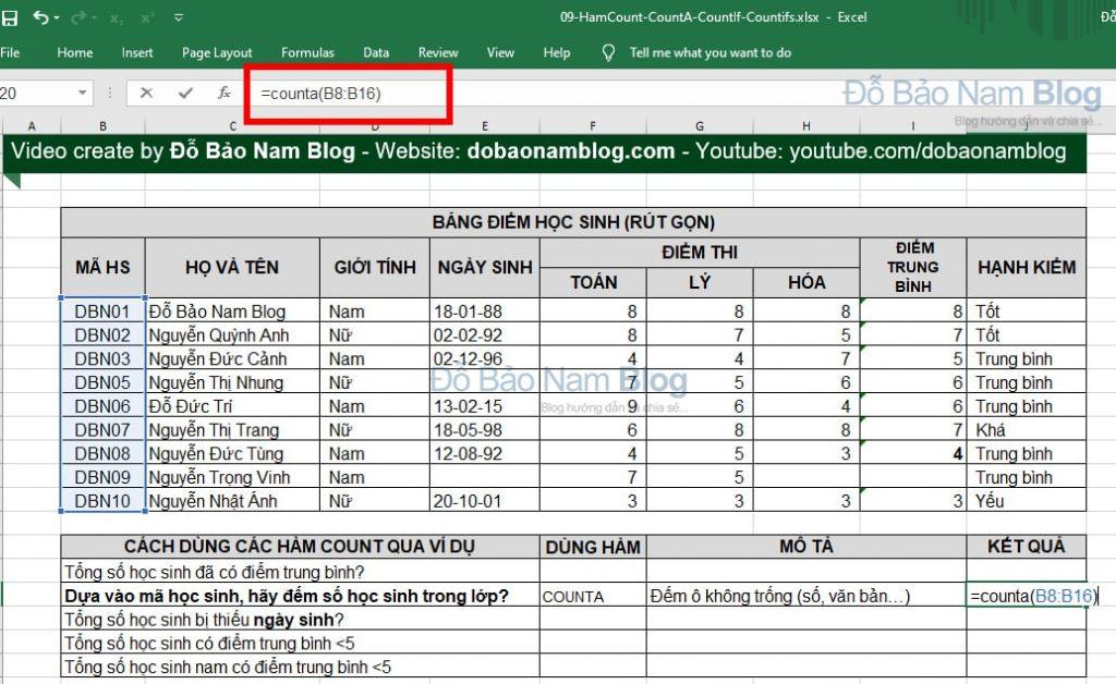 Cách dùng hàm COUNTA trong Excel qua ví dụ minh họa