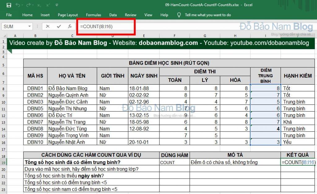 Cách dùng hàm COUNT trong Excel qua ví dụ
