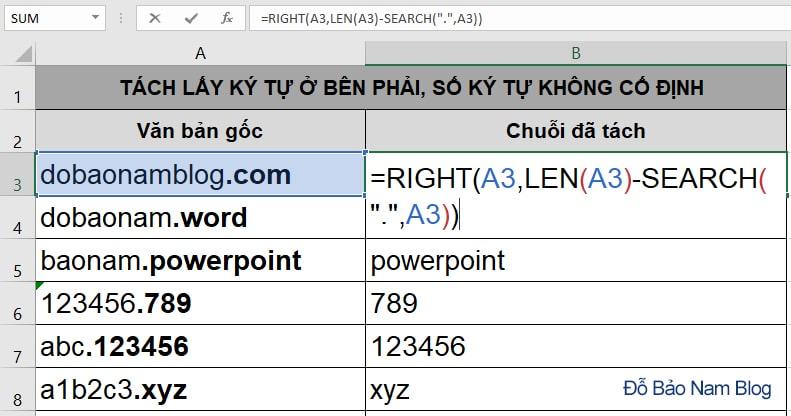 Cách sử dụng hàm Right kết hợp Len
