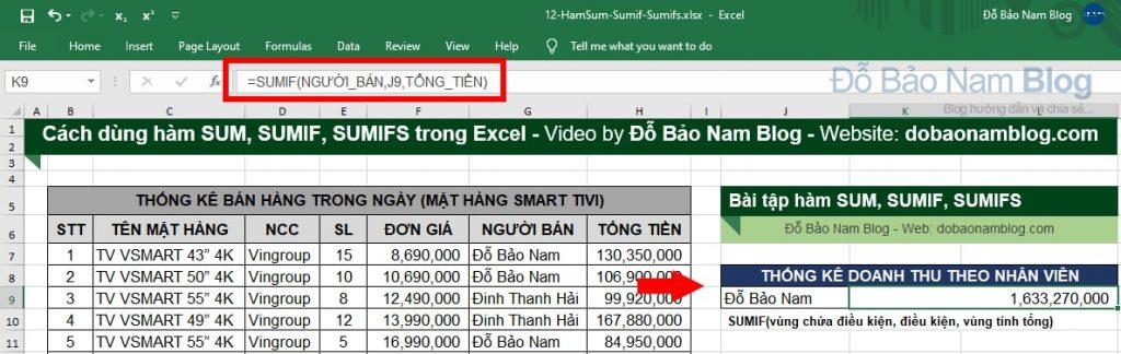 Cách dùng hàm SUMIF trong Excel equa ví dụ minh họa