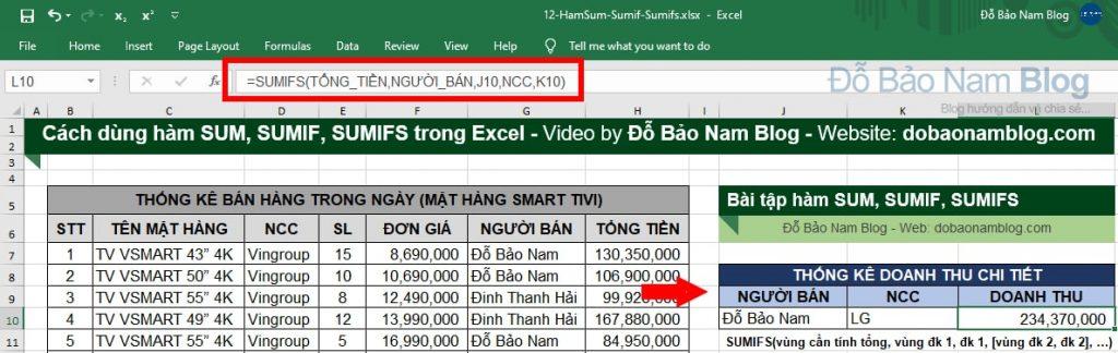 Cách dùng hàm SUMIFS trong Excel qua ví dụ minh họa