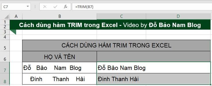 Kết quả sau khi xóa khoảng trắng trong Excel