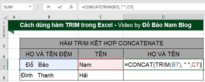 Cách dùng hàm Trim kết hợp với Concatenate trong Excel
