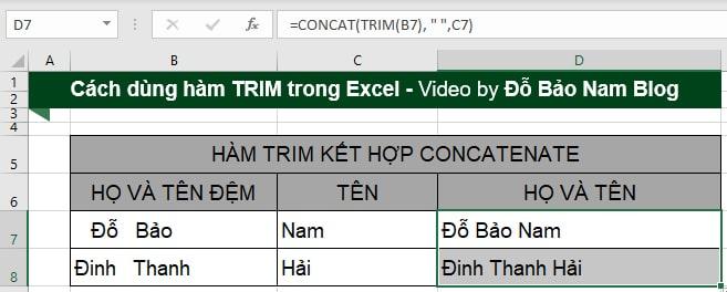 Kết quả hàm Concatenate kết hợp Trim để loại bỏ khoảng trắng