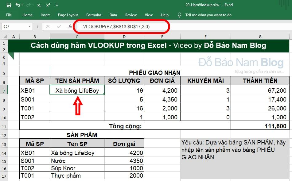 Ví dụ về cách dùng hàm Vlookup trong Excel