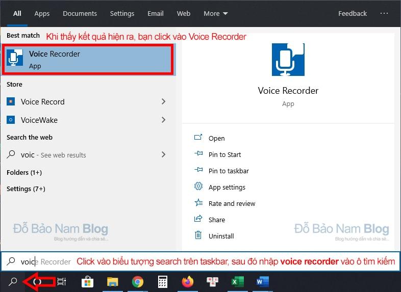 Tìm kiếm Voice Recorder trên ô tìm kiếm của thanh taskbar