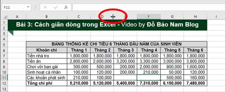 Cách giãn dòng trong Excel thủ công