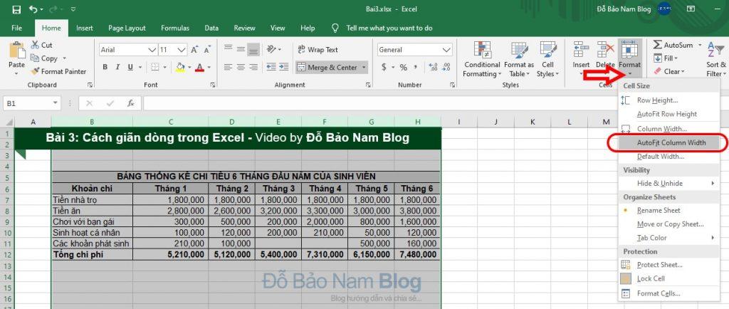Cách giãn dòng trong Excel tự động